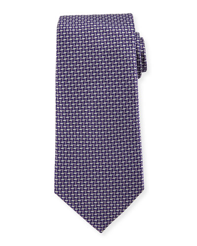 Geometric Silk Tie, Purple