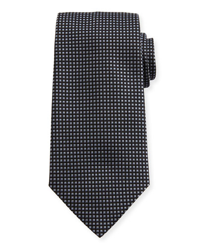 Stud-Pattern Silk Tie, Black