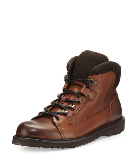 Ermenegildo Zegna Leather Hiking Boot with Wool Trim,