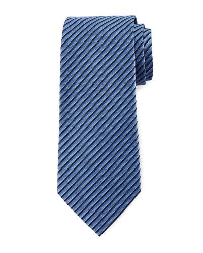 Tricolor Diagonal-Stripe Tie, Blue