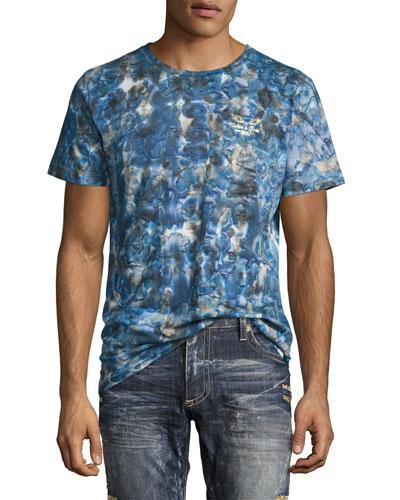 Tie-Dye Logo-Print T-Shirt, Indigo