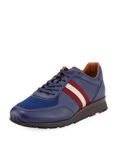 Men's Leather Trainer Sneakers w/Trainspotting Stripe, Marine Blue