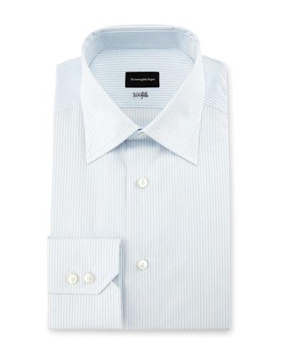 100Fili Fine-Stripe Dress Shirt, White/Light Blue