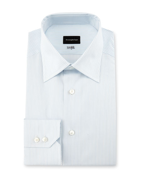 Ermenegildo Zegna 100Fili Fine-Stripe Dress Shirt, White/Light