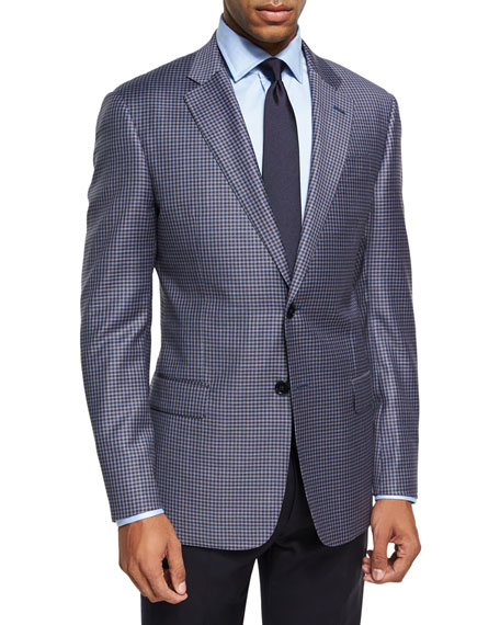Armani Collezioni Check Two-Button Sport Coat, Pink/Blue/Brown