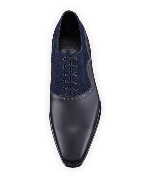 Wilfrid Denim & Leather Lace-Up Shoe