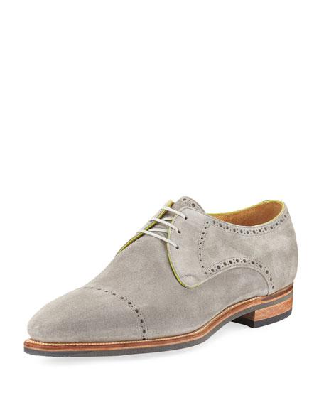 Corthay Ike Cap-Toe Suede Derby Shoe