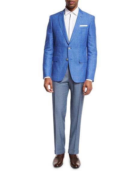 Plaid Linen-Cotton Sport Coat, Blue