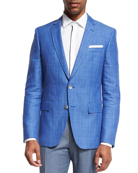 BOSS Plaid Linen-Cotton Sport Coat, Blue