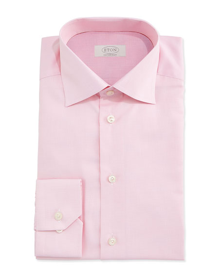 Contemporary-Fit Mini-Houndstooth Dress Shirt, Pink