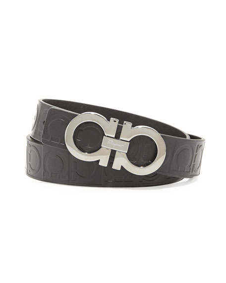 Gancini Stamped Calfskin Belt, Black
