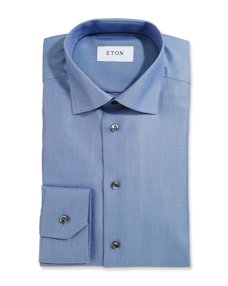 Eton Textured Twill Dress Shirt, Slate Blue