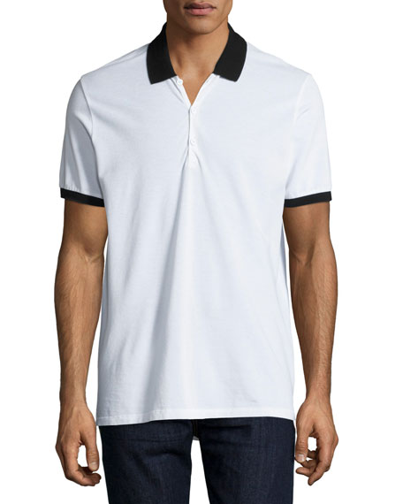 Farris Contrast-Trim Polo Shirt, White