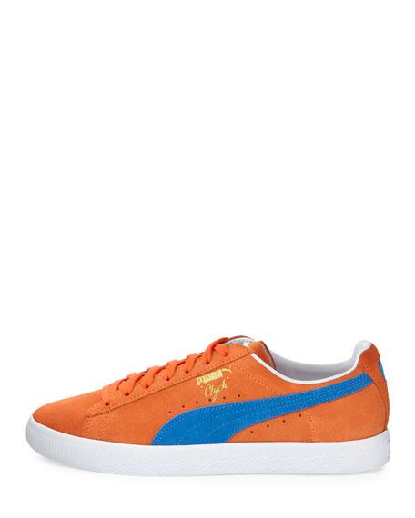 Clyde Suede Low-Top Sneaker, Orange/Blue