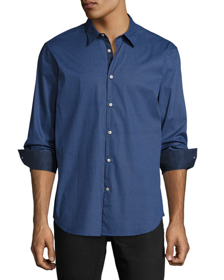 John Varvatos Star USA Slim-Fit Micro-Pattern Sport Shirt,