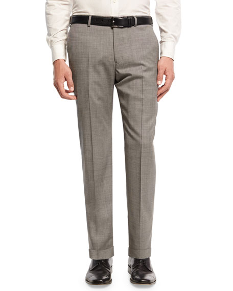 Micro-Textured Trousers, Gray