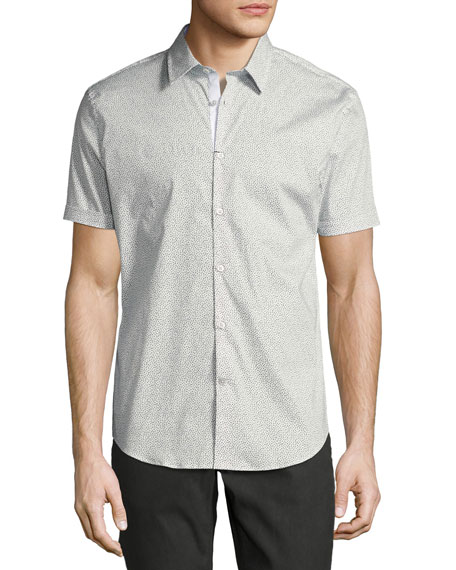 John Varvatos Star USA Dot-Print Slim-Fit Short-Sleeve Sport
