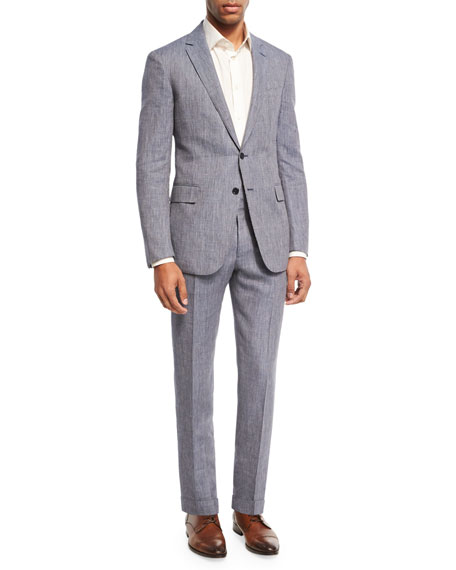 Linen-Wool Two-Piece Suit, Blue/White