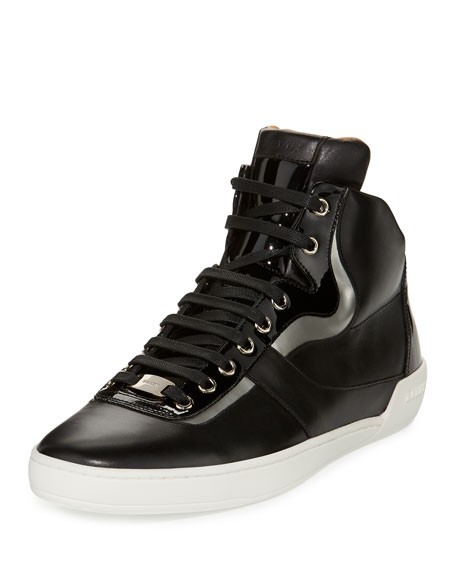 Bally Eroy Leather High-Top Sneaker, Black