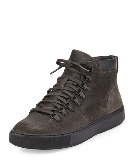 Vince Lancer Suede Hiker Boot, Carbon/Black