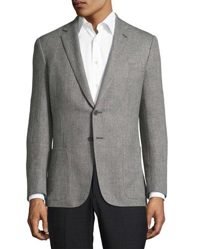 Waffle-Knit Sport Coat, Gray