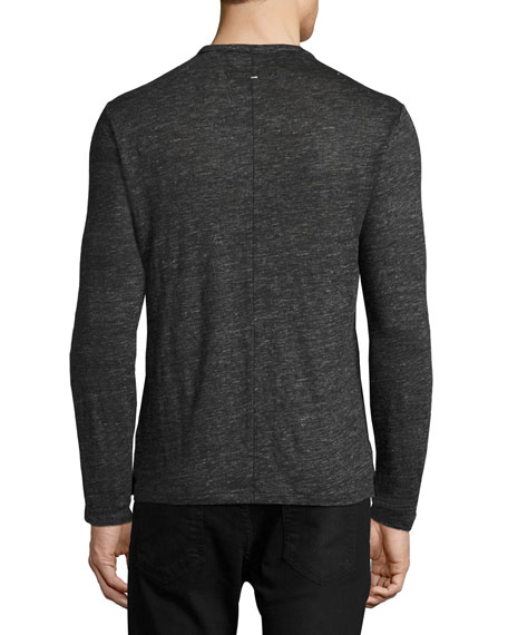 Rag & Bone Owen Long-Sleeve Linen T-Shirt, Charcoal | Neiman Marcus