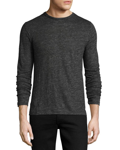 Owen Long-Sleeve Linen T-Shirt, Charcoal