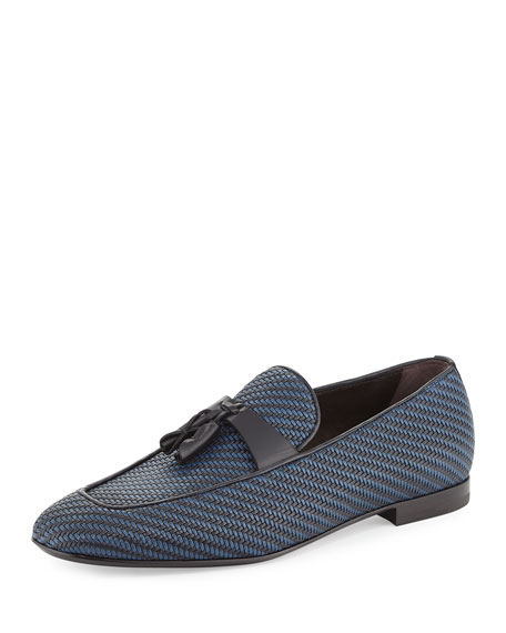 Ermenegildo Zegna Lido Bicolor Woven Leather Tassel Loafer,