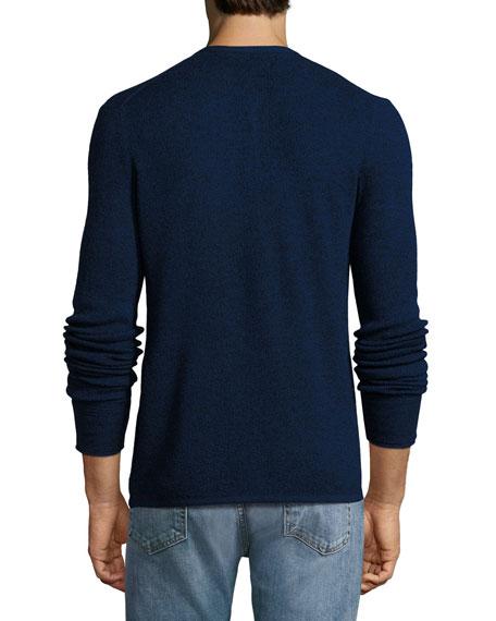 Rag & Bone Giles Merino Wool-Blend Henley Sweater, Navy Blue