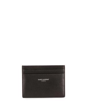d0f93434c1cc9 Saint Laurent Pebbled Leather Classic Card Case