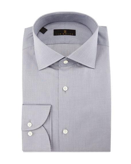 Gold Label Milano Mini-Houndstooth Dress Shirt, Gray