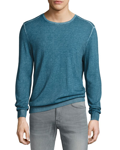 Engineered-Rib Crewneck Sweater, Blue
