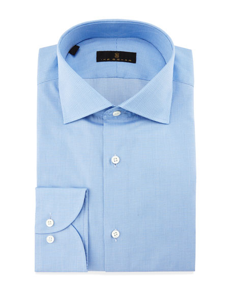 Gold Label Milano Mini-Houndstooth Dress Shirt, Sky Blue