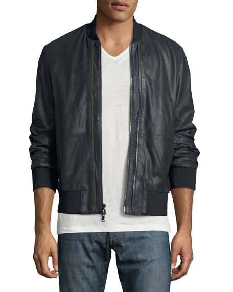 John Varvatos Star USA Burnished Leather Bomber Jacket,