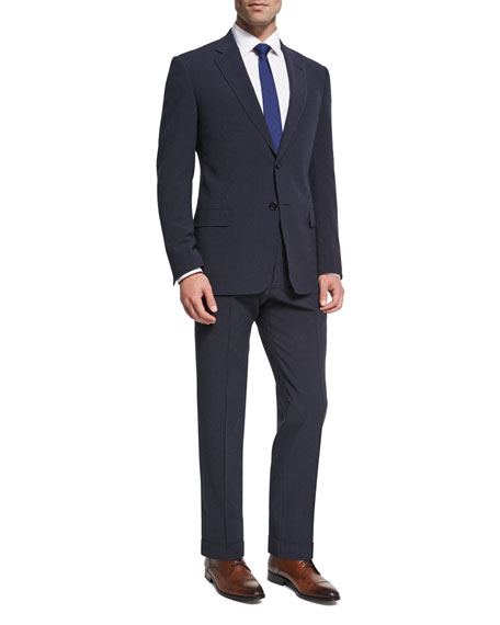 Seersucker Wool-Silk Two-Piece Suit, Navy