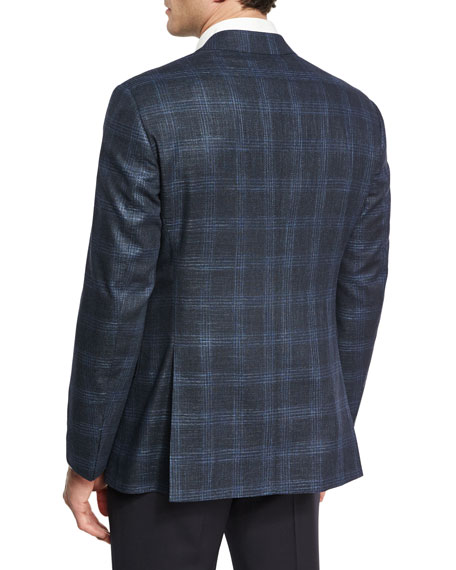 Glen Plaid Two-Button Sport Coat, Navy/Bright Blue