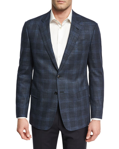 Giorgio Armani Glen Plaid Two-Button Sport Coat, Navy/Bright
