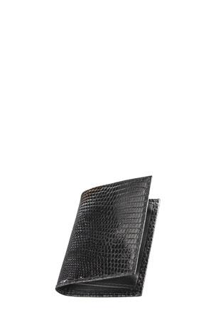 Neiman Marcus Lizard Business Card Case, Black