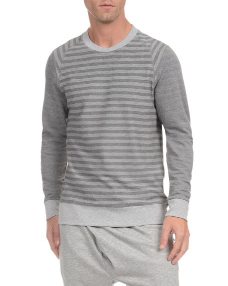2Xist French Terry Striped Crewneck Sweatshirt, Light Gray