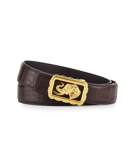 Stefano Ricci Crocodile Belt with Golden Elephant Buckle,