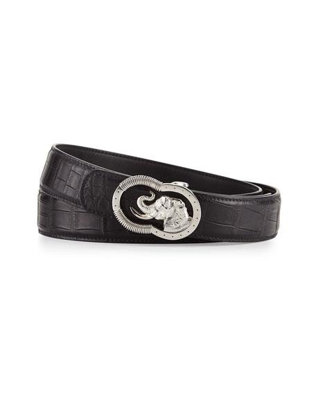 Crocodile Belt with Silvertone Elephant Buckle, Black