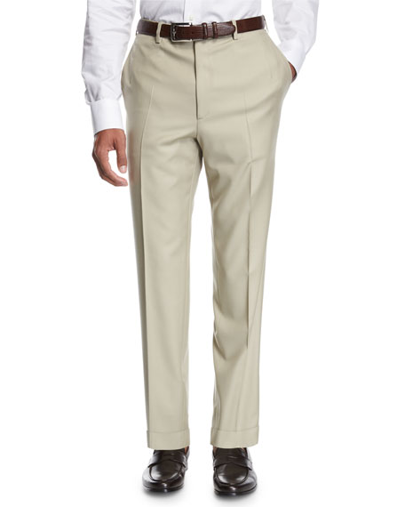 Wool Flat-Front Trousers, Tan