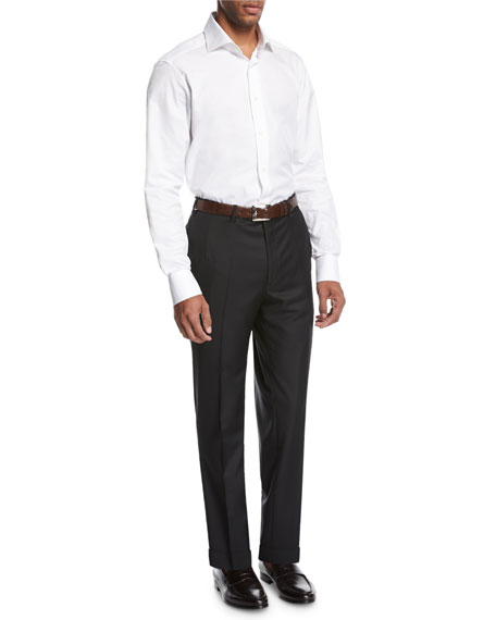 Wool Flat-Front Trousers, Black