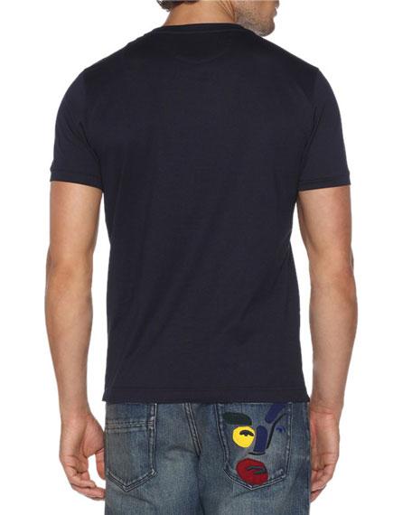 Fendirumi Bug-Kun T-Shirt with Fur & Leather Trim, Blue