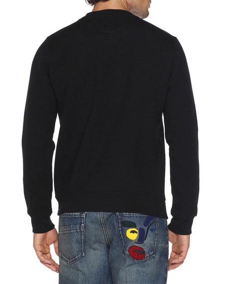Rubberized-Stud Monster Eyes Sweatshirt, Black