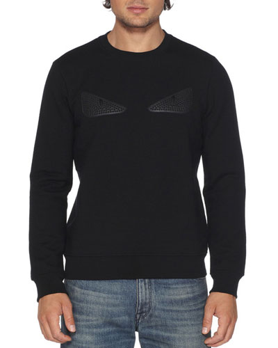 Rubberized-Stud Monster Eyes Sweatshirt, Black