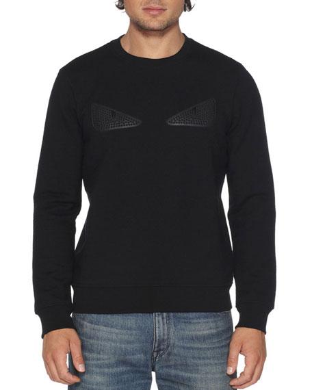 Fendi Rubberized-Stud Monster Eyes Sweatshirt, Black