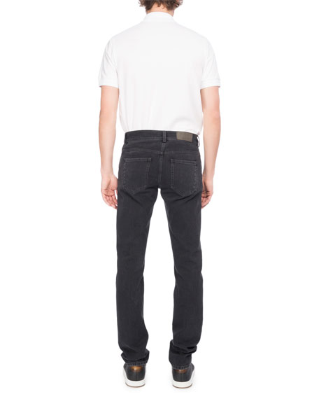 Washed Denim Straight-Leg Jeans, Dark Gray