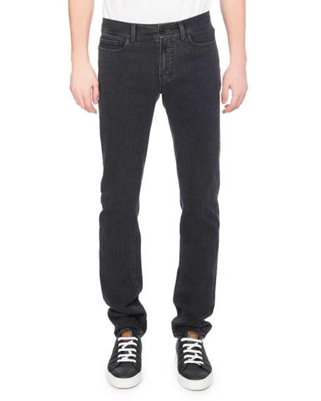 Berluti Washed Denim Straight-Leg Jeans, Dark Gray