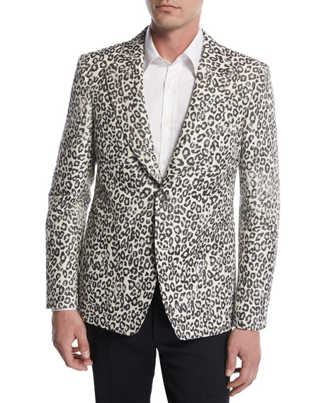 Alexander McQueen Faded Leopard Two-Button Sport Jacket,